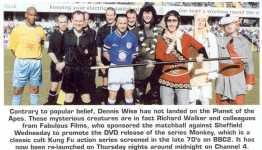 Featured photograph of Monkey, Pigsy, Sandy and Tripitaka alongside Millwall player Dennis Wise, amongst others