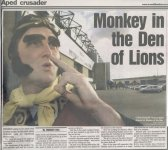 Newspaper article from the South London Press newspaper on Friday January 31 2003 plugging the appearance of the 4 Monkey characters at the Millwall vs. Sheffield Wednesday game on Saturday March 22 2003