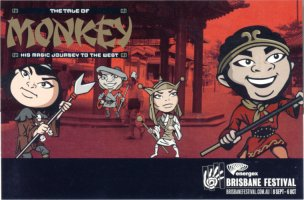 Promotional postcard for The Tale of Monkey His Magic Journey to the West show at Brisbane Festival 2002